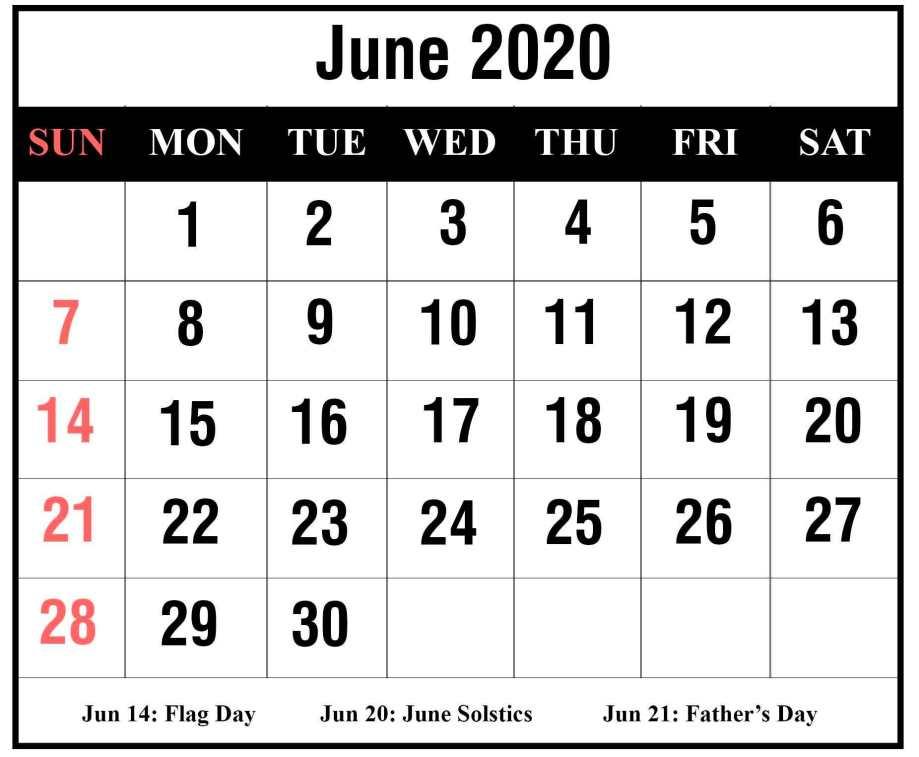 Free June 2020 Calendar